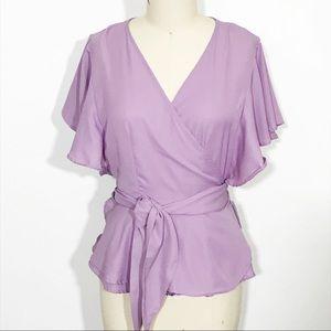 Charlotte Russe Lavender Flutter Sleeve Wrap Shirt